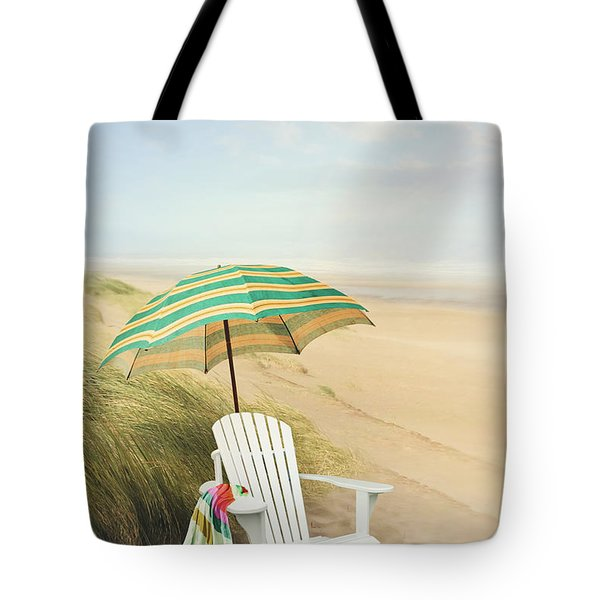 Adirondack Chair And Umbrella By The Seaside Tote Bag by Sandra Cunningham