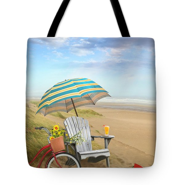Adirondack Chair With Bicycle And Umbrella By The Seaside Tote Bag by Sandra Cunningham