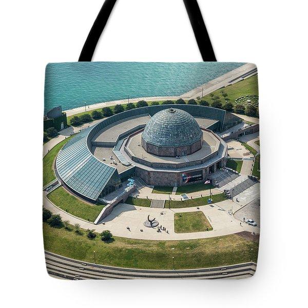 Tote Bag featuring the photograph Adler Planetarium Aerial by Adam Romanowicz