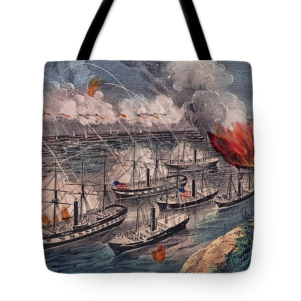 Admiral Farragut's Fleet Engaging The Rebel Batteries At Port Hudson Tote Bag by American School