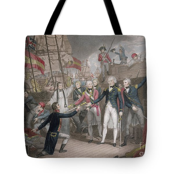 Admiral Nelson's Boarding The Two Spanish Ships, 14th February 1797 Tote Bag