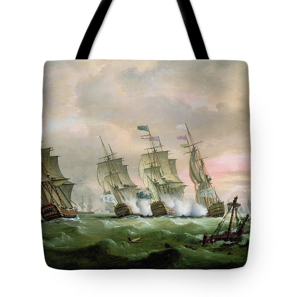 Admiral Sir Edward Hawke Defeating Admiral De Conflans In The Bay Of Biscay Tote Bag by Thomas Luny