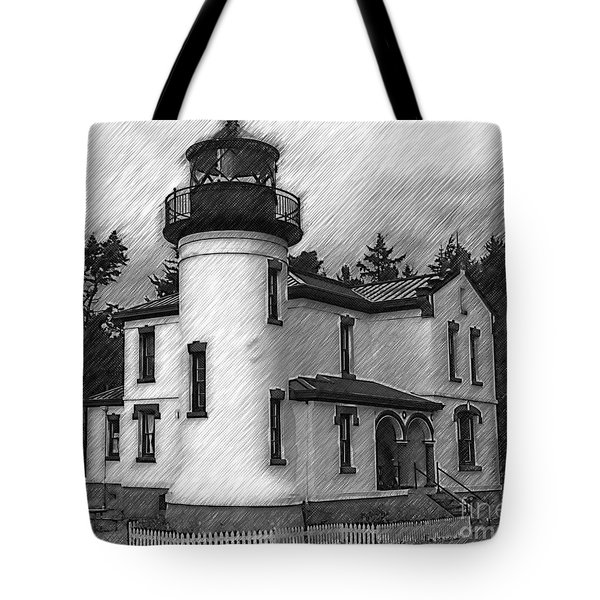 Admiralty Head Lighthouse Sketched Tote Bag