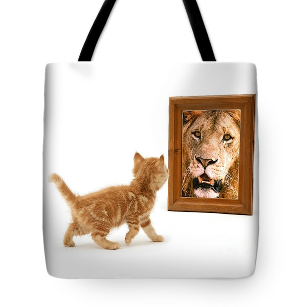Admiring The Lion Within Tote Bag