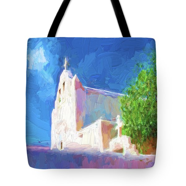 Tote Bag featuring the digital art Adobe Church by OLena Art Brand