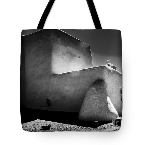 Adobe Church In B-w Tote Bag