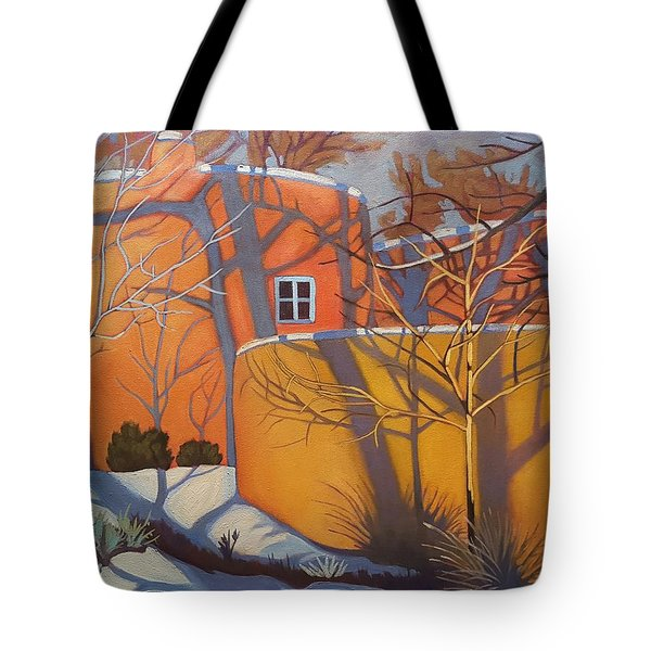 Adobe, Shadows And A Blue Window Tote Bag