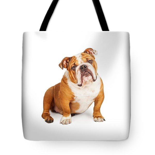 Adorable English Bulldog Looking Into The Camera Tote Bag