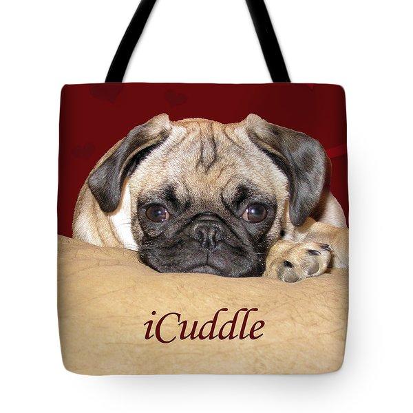 Adorable Icuddle Pug Puppy Tote Bag by Patricia Barmatz