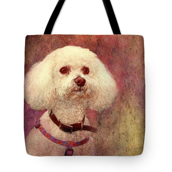 Adoration - Portrait Of A Bichon Frise  Tote Bag