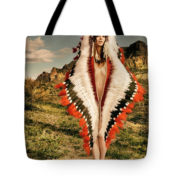 Adorned Feathered Nude Tote Bag