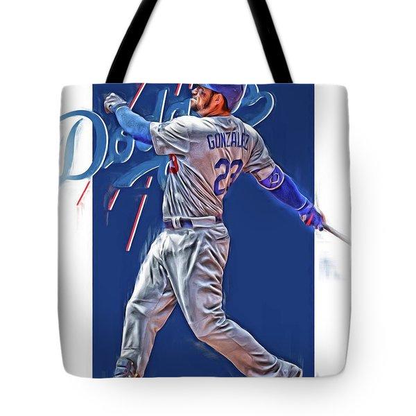 Adrian Gonzalez Los Angeles Dodgers Oil Art Tote Bag
