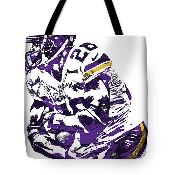 Tote Bag featuring the mixed media Adrian Peterson Minnesota Vikings Pixel Art by Joe Hamilton