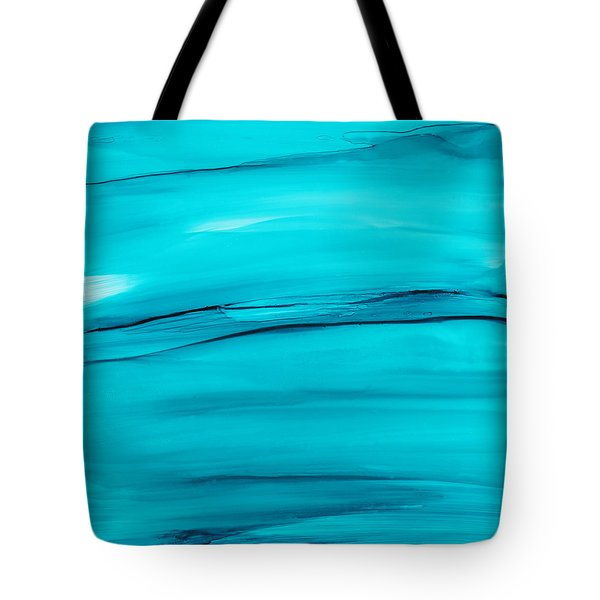 Tote Bag featuring the painting Adrift In A Sea Of Blues Abstract by Nikki Marie Smith