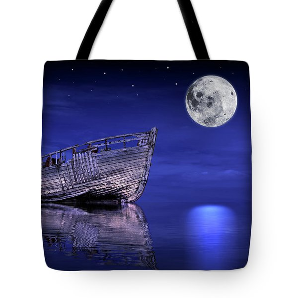 Tote Bag featuring the photograph Adrift In The Moonlight - Old Fishing Boat by Gill Billington