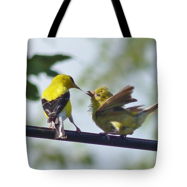 Adult And Juvenile American Goldfinch Tote Bag