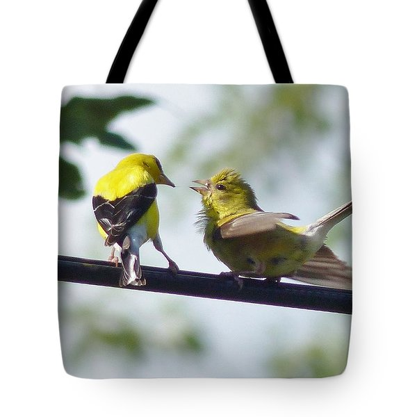 Adult And Juvenile Goldfinch Tote Bag
