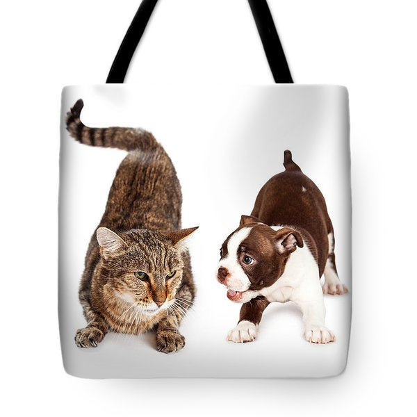 Adult Cat Annoyed With Playful Puppy Tote Bag