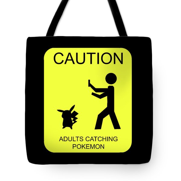 Tote Bag featuring the digital art Adults Catching Pokemon 1 by Shane Bechler