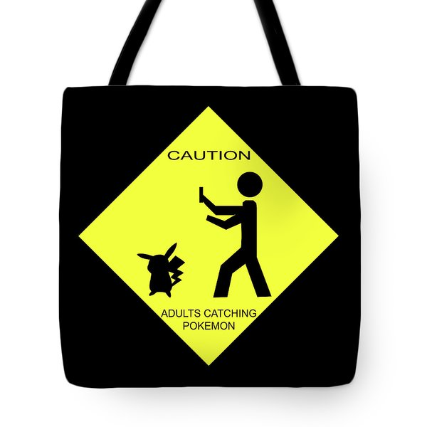 Tote Bag featuring the digital art Adults Catching Pokemon 2 by Shane Bechler