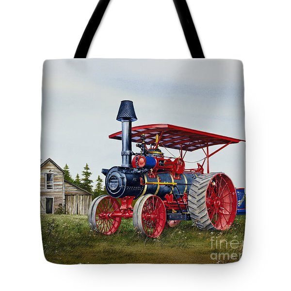 Tote Bag featuring the painting Advance Rumely Steam Traction Engine by James Williamson
