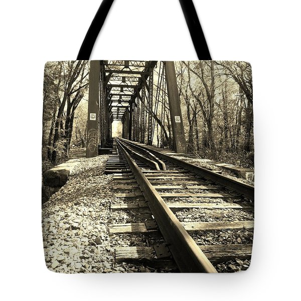 Adventure Along The Rails - Sepia Tote Bag