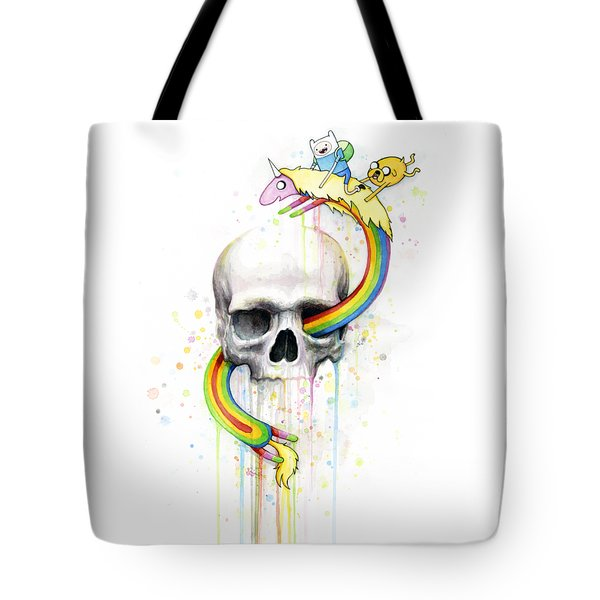 Adventure Time Skull Jake Finn Lady Rainicorn Watercolor Tote Bag