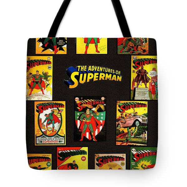 Tote Bag featuring the mixed media Adventures Of Superman by W And F Kreations