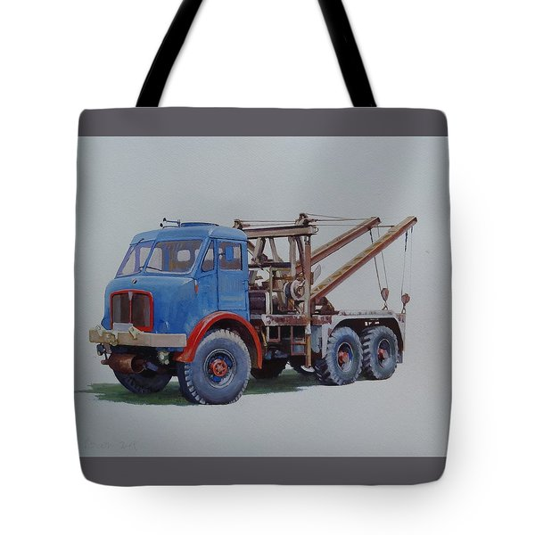 Tote Bag featuring the painting Aec Militant Wrecker. by Mike Jeffries