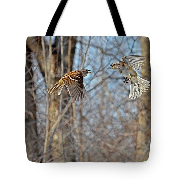 Aerial Battle Of The Forest Tote Bag