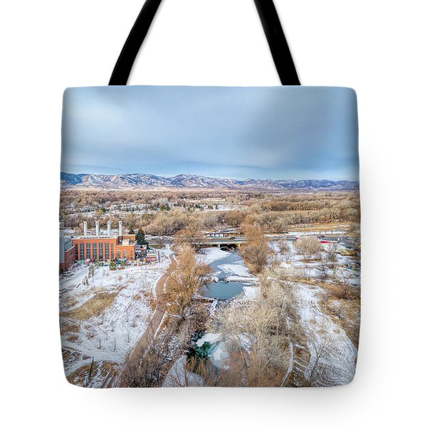 aerial cityscape of Fort Collins Tote Bag