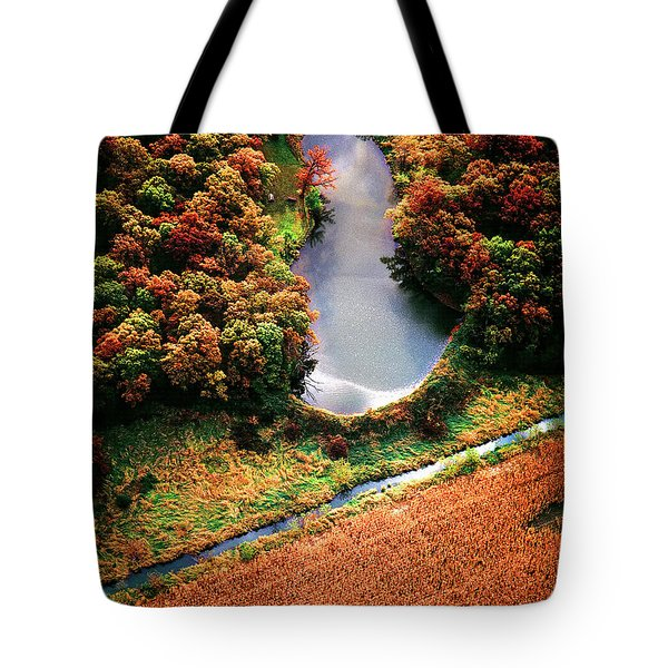Tote Bag featuring the photograph Aerial Farm Big Foot Pond by Tom Jelen
