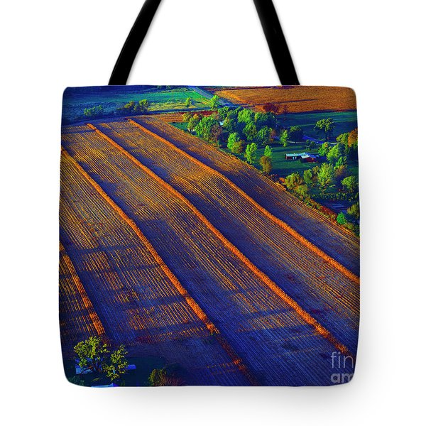 Aerial Farm Field Harvested At Sunset Tote Bag