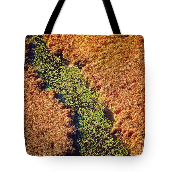 Aerial Farm Stream Lillies  Tote Bag