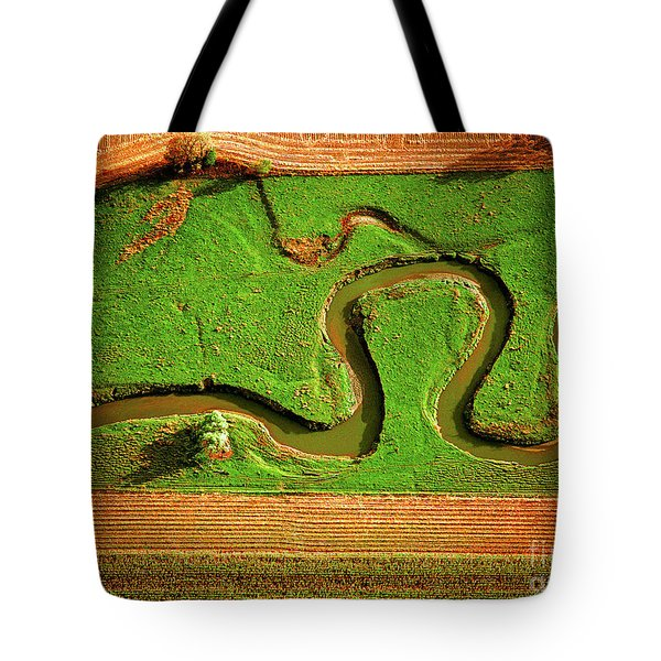 Aerial Farm Stream Tote Bag