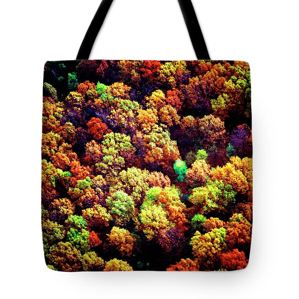 Tote Bag featuring the photograph Aerial Farm Tree Tops Fall Ff by Tom Jelen