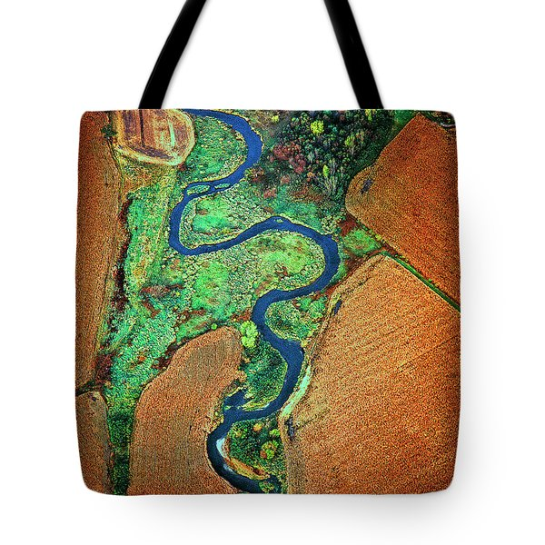 Tote Bag featuring the photograph Aerial Farm Wet Lands Stream  by Tom Jelen