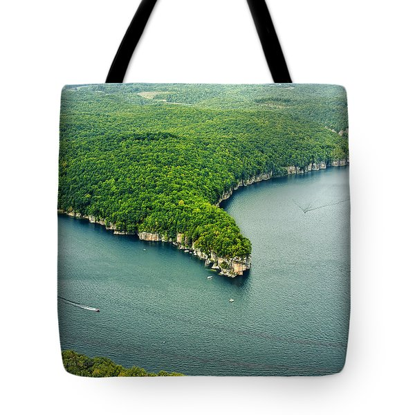 Aerial Image Of  Long Point Cliff Tote Bag by Mark Allen