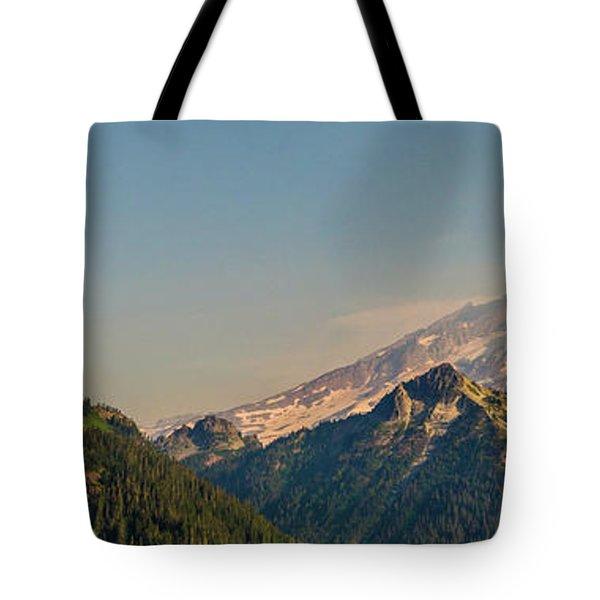Aerial Mount Rainier And Tatoosh Range Panorama Tote Bag