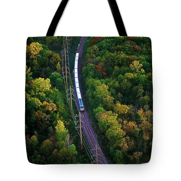 Aerial Of  Commuter Train  Tote Bag