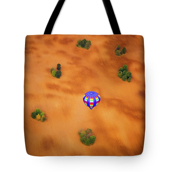 Aerial Of Hot Air Balloon Above Tilled Field Fall Tote Bag