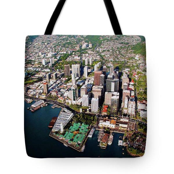 Aerial Panorama - Downtown - City Of Honolulu, Oahu, Hawaii  Tote Bag