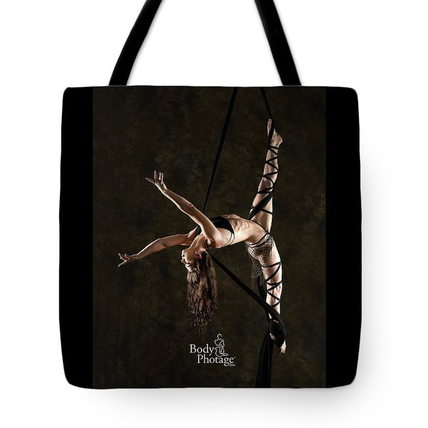Aerial Splits With Black Silks Tote Bag