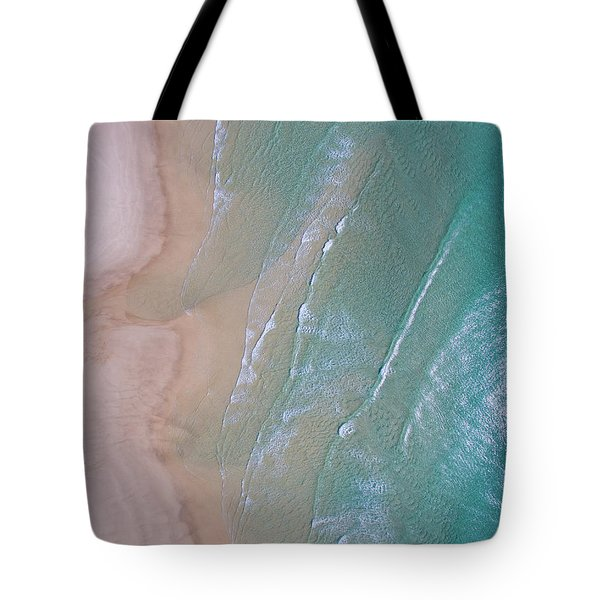 Aerial View Of Beach And Wave Patterns Tote Bag