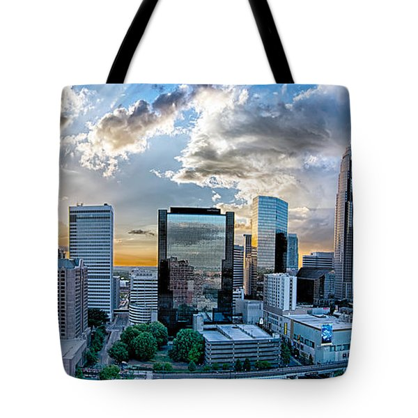 Aerial View Of Charlotte City Skyline At Sunset Tote Bag by Alex Grichenko