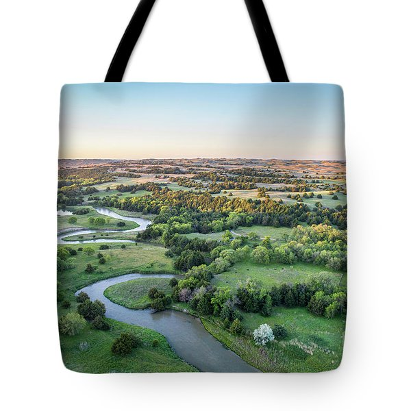 aerial view of Dismal River in Nebraska Tote Bag