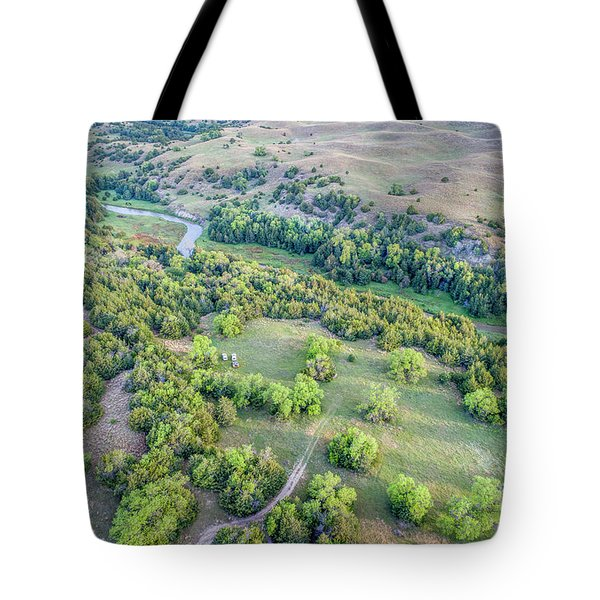 aerial view of Dismal River in Nebraska Sandhills Tote Bag