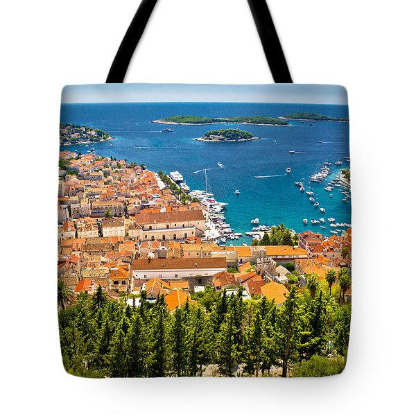 Aerial View Of Hvar Rooftops And Harbor Tote Bag