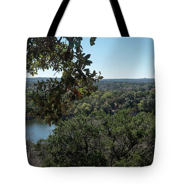 Aerial View Of Large Forest And Lake Tote Bag