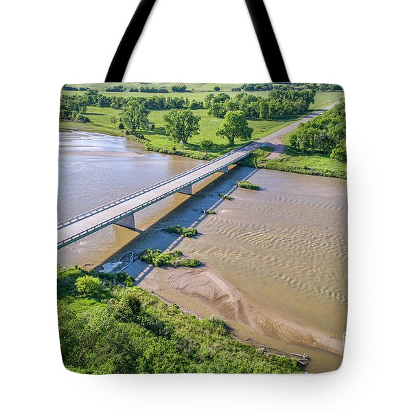 aerial view of Niobrara River in Nebraska Sand Hills Tote Bag